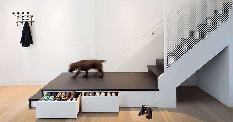 Design Idea For Stairs This Stair Landing Has Hidden Shoe Storage | Staircase Landing Wall Design | Rural | Foot Stair | Pinterest | Interior | Wood Handrail Pasted