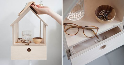 Designed with multi-functionality in mind, the Birdhouse Cabinet by Lianne Siebring of Siebring & Zoetmulder Design Products, is a side table, light fixture, book marker, and storage solution all in one simple structure.