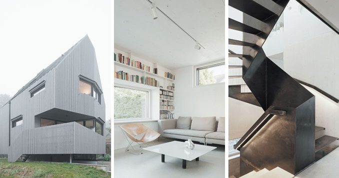 Architecture firm Karawitz have designed this modern angular house on a tree-lined street in a small community close to Paris, France.