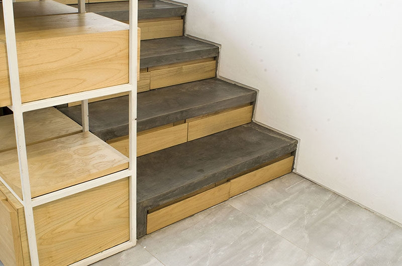 This Concrete And Wood Staircase Has Hidden Storage   Wood And Concrete Stairs   House   Internal   Glass   Small Space   Pinterest