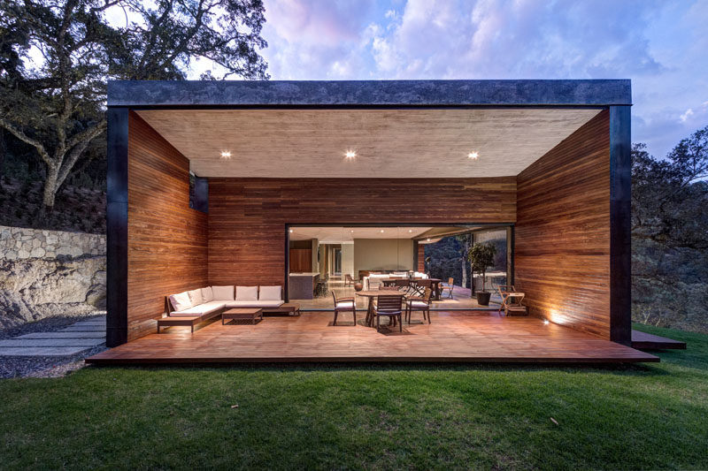 A Butterfly Roof Contains This House On A Hillside In Mexico on Covered Outdoor Living Area id=38850