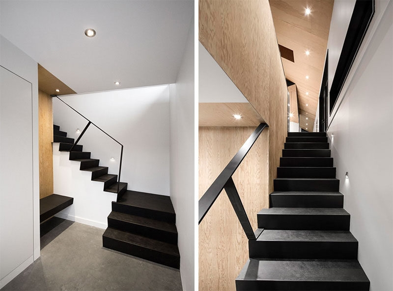 12 Black Stairs That Add A Sophisticated Touch To These Modern Homes   Black And White Stairs Design   Farmhouse   Photography   Concept   Disappearing   Grey Background