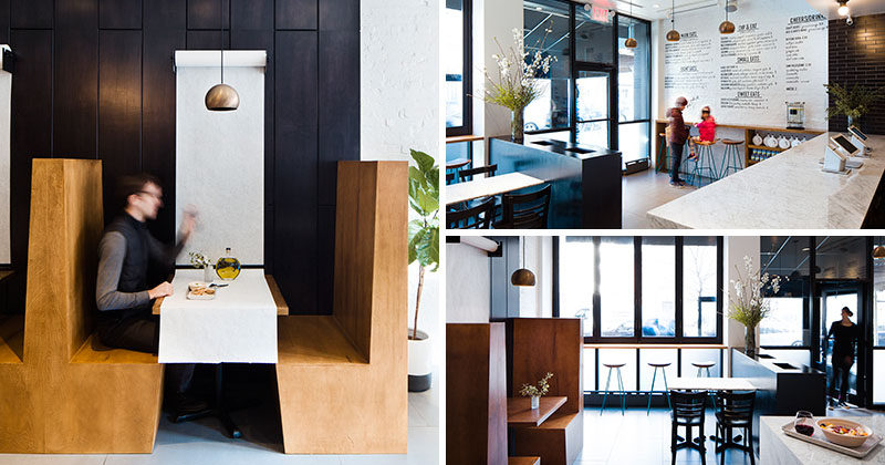 Move Matter Architecture have designed Greek Eats, a small, bright, modern Greek restaurant in the upper east side of Manhattan, New York. Large windows fill the restaurant with natural light and a simple black and white color palette with a few wood details gives the small restaurant a bright, modern, minimalist feel.