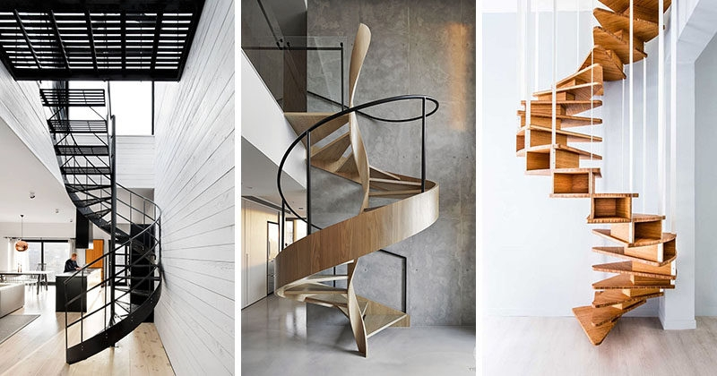 16 Modern Spiral Staircases Found In Homes Around The World | Modern Staircase Design Outside Home | Iron Railings | Concrete | Design Ideas | Msmedia | Steel Staircase