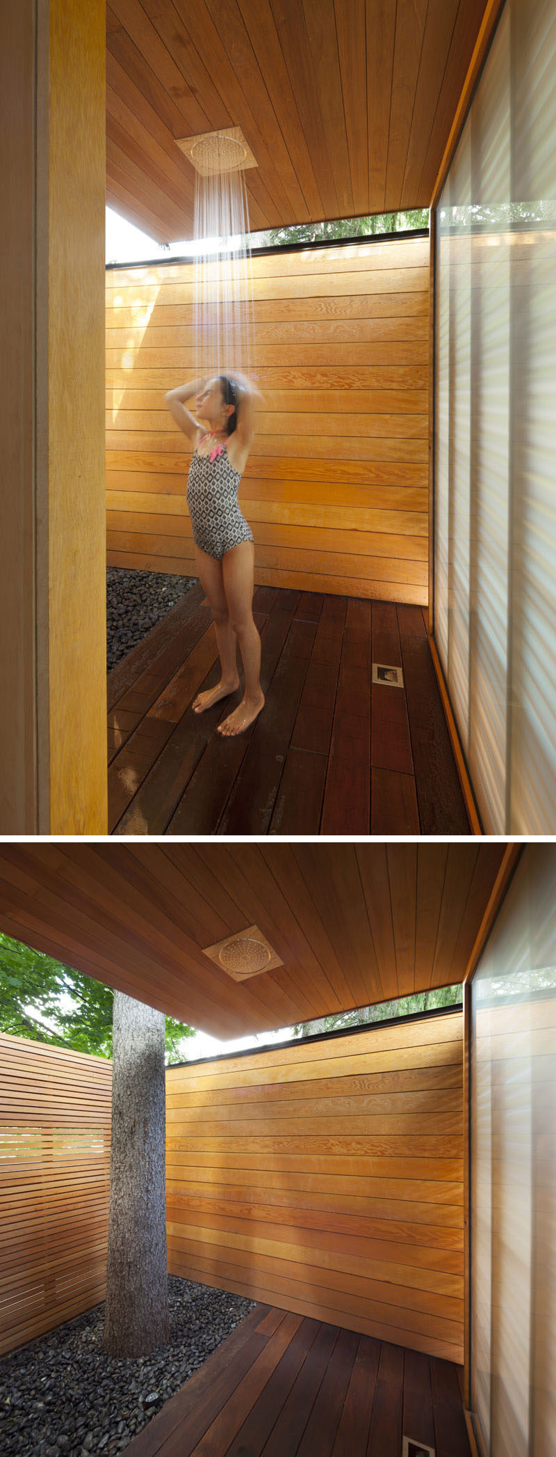 A Pool House Was Designed To Contain A Shower And Change