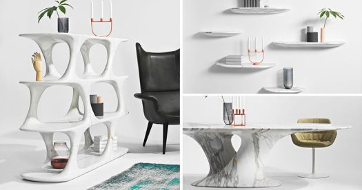 Austrian designer Rainer Mutsch has created a collection of contemporary furniture made entirely out of marble, that includes a dining table, bookshelf, and floating wall shelves.