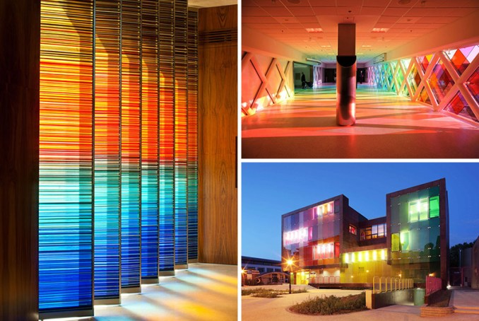 Colored glass is often found in older buildings with stained glass windows, but these 10 examples show that colored glass can be used as a decorative element in a modern interior or building.