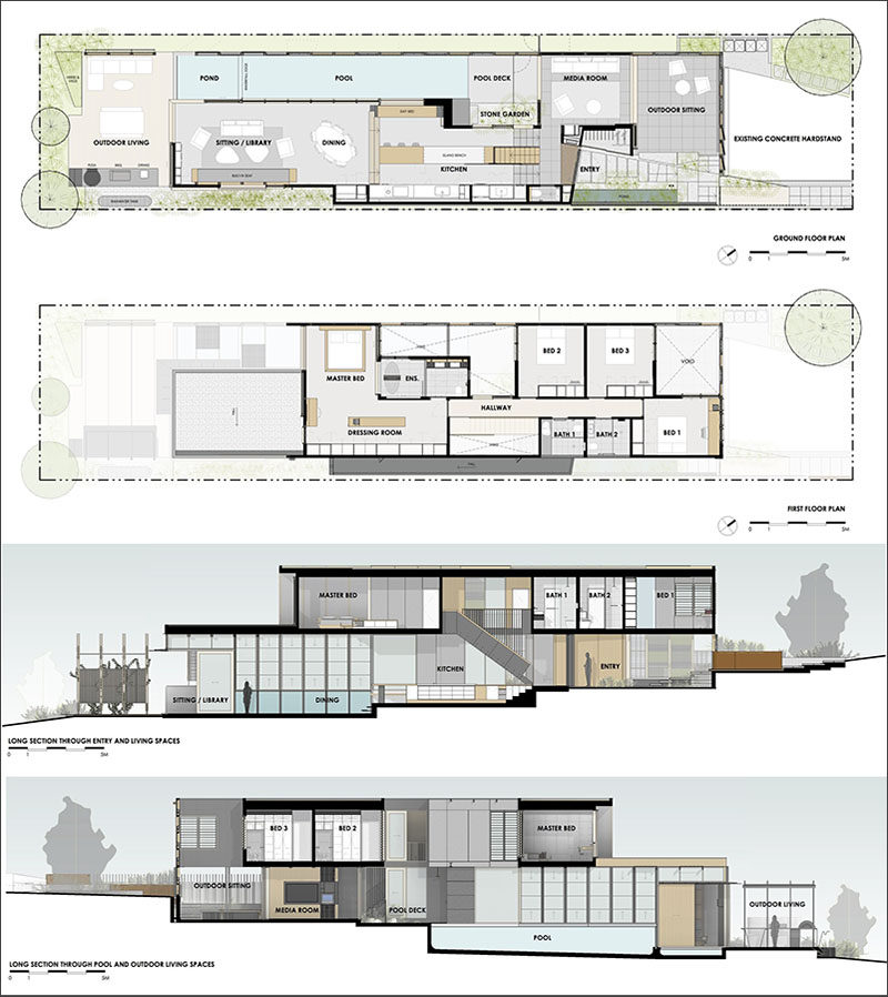This modern house has an above ground lap pool, outdoor entertaining areas, and an exterior with a grid wall of plants.