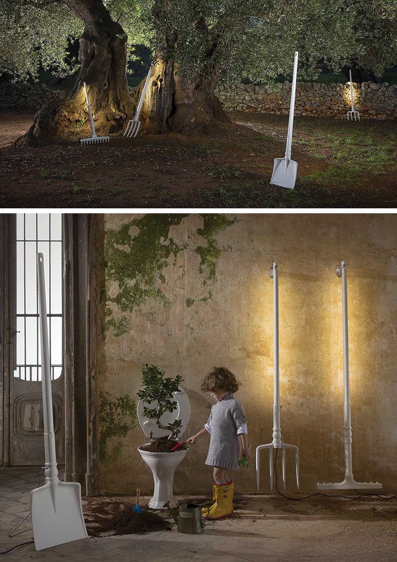 A Whimsical Collection Of Outdoor Lamps With A Gardening Theme
