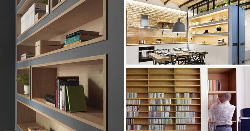 Built-in bookshelves lined with wood are an interesting way to highlight the design and add a sense of warmth to a room. #shelving #BuiltInShelving #WoodLinedShelving #WoodLinedBookshelf