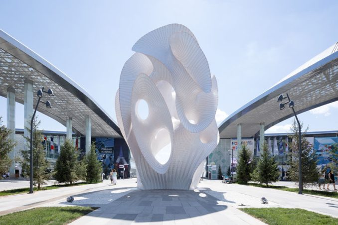 "MARC FORNES / THEVERYMANY have created 'Minima | Maxima', a large public art sculpture amid the grounds of the World Expo 2017 in Astana, Kazakhstan, that's made from ?"" power-coated Aluminum and stands 43 feet tall. #Art #Sculpture #PublicArt #Design"