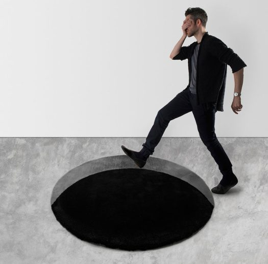 Designer Scott Jarvie has created the Void Rug, a 100% merino wool, modern monotone floor rug that has an illusion of depth. #Rug #HomeDecor #ModernRug