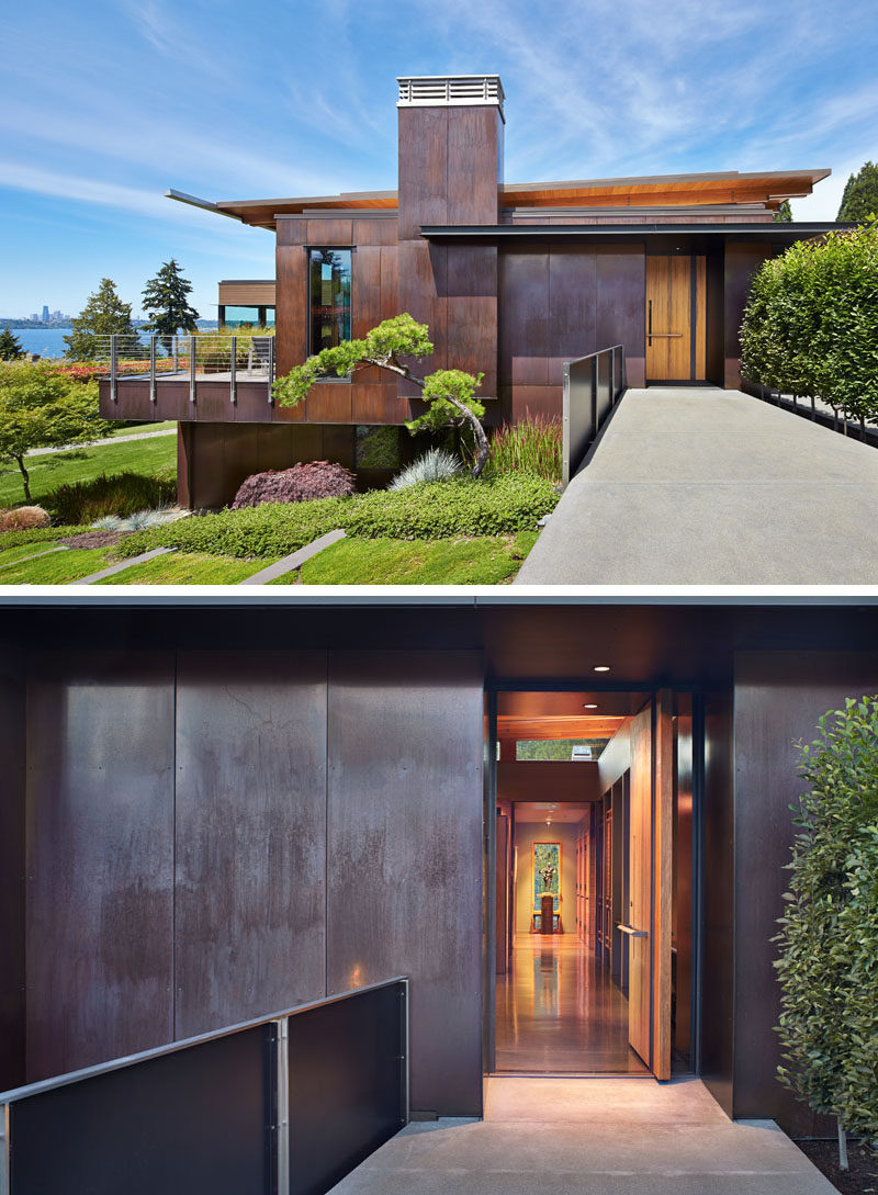 Dark-Stained Cedar Siding And Copper Panels Cover The ... on Modern House Siding  id=18667