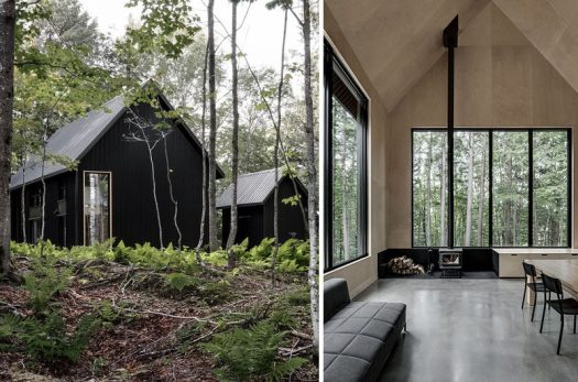 APPAREIL architecture have designed this modern cottage with a separate garage, that sits surrounded by the forest in Austin, an Eastern Township in Quebec, Canada. #ModernCottage #Architecture