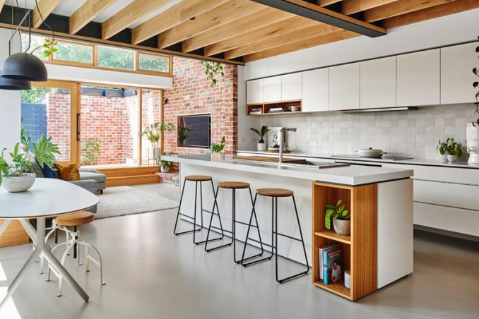 Altereco Design completed the renovation of a hundred-year-old worker's cottage in Yarraville, a suburb of Melbourne, Australia, for their clients who wanted to leave as small a carbon footprint to their new home as possible. #Renovation #Kitchen #InteriorDesign
