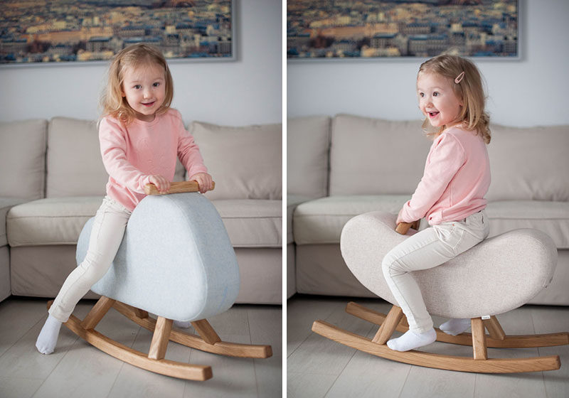 Hyggelig have designed a pair of children's rockers named 'The Mountain' and 'The Banana', that were inspired by the items that they're named after. #ModernKidsFurniture #ChildrensFurniture #ModernToys