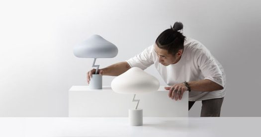 """South Korean designer Jinyoun Kim has created the Lightning Lamp, which was inspired by an old Korean phrase, """"Being struck by a thunder out of blue sky"""", which describes people confronting unexpected catastrophic events. #ModernTableLamp #Lighting #Design"""