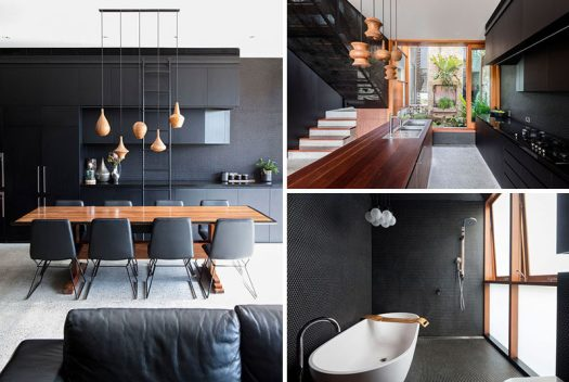 This modern house combines black, wood and concrete to create a bold appearance. #ModernInterior #BlackInterior #BlackAndWood #InteriorDesign