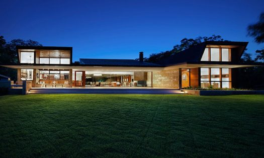 Miró Rivera Architects have designed a new house in Austin, Texas, that features exterior walls of flat seam copper and Lueders roughback limestone, and a roof made from standing seam copper. #ModernArchitecture #ModernHouse