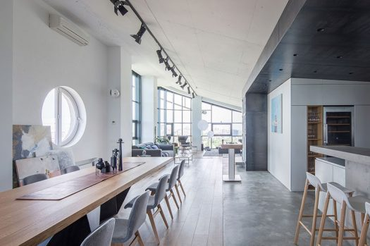 2B.Group have completed the transformation of a industrial modern apartment, that's located in what was once the equipment room of a building in Kiev. #IndustrialModern #Penthouse #InteriorDesign #ModernApartment