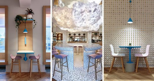 """Interior designer Marat Mazur has recently completed """"Forget The Sugar"""", a new cafe in Saint Petersburg, Russia, that serves food with high quality natural ingredients instead of sugar. #CafeInterior #CafeDesign #InteriorDesign"""