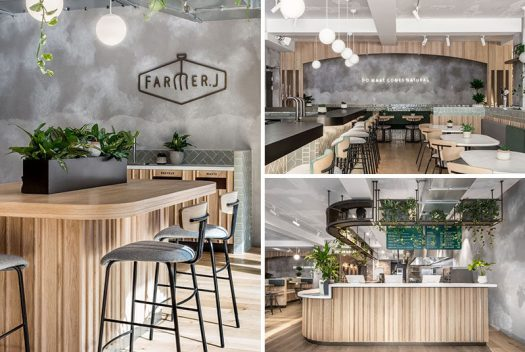 Australian based design studio Biasol, have recently completed Farmer J, an all-day restaurant in London, that serves from morning to night, week to weekend, and coffee to cocktails. #RestaurantDesign #RestaurantFacade