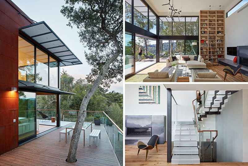 Zack | de Vito Architecture + Construction have designed a modern house that sits on a hillside in Mill Valley, California. #Architecture #ModernHouse #HouseDesign