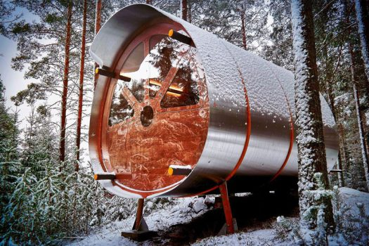 British company Tree Tents has created Fuselage, a contemporary take on the traditional off-grid woodland cabin. #CabinDesign #Cabin #Architecture