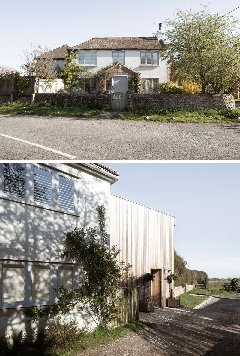 Paul Cashin Architects has designed a wood covered addition for a 200-year-old house on the south coast of England overlooking Chichester Harbour. #WoodAddition #HouseAddition #WoodSiding