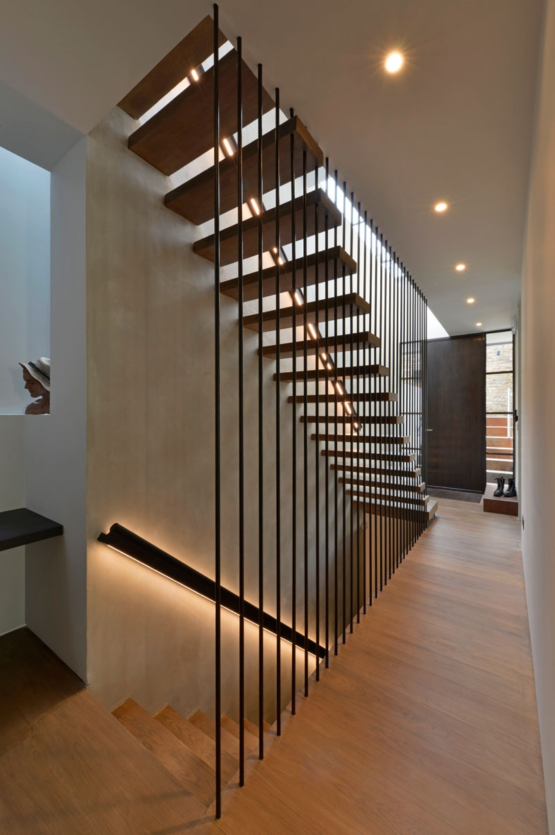 Design Detail These Wood Stairs Have A Handrail With Hidden Lighting   Wooden Staircase Handle Designs   Balusters   Stainless Steel   Stair Case   Modern Stair Railings   Stair Parts