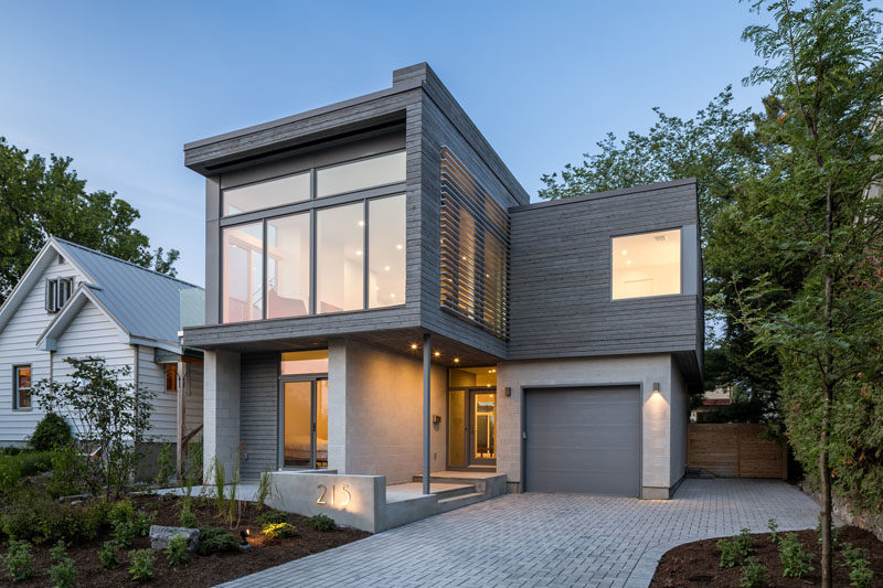 Honed Concrete-Block Walls And Grey-Stained Cedar Siding ... on Modern House Siding  id=83739