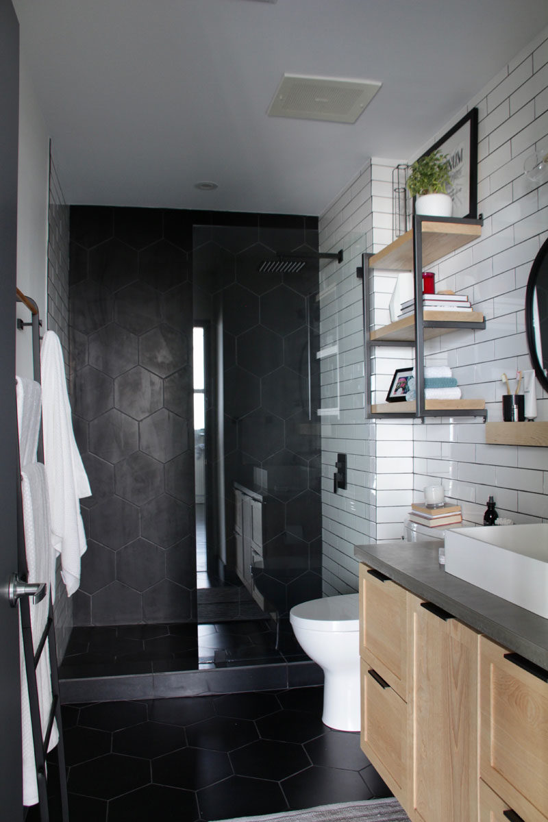 a bathroom renovation with industrial