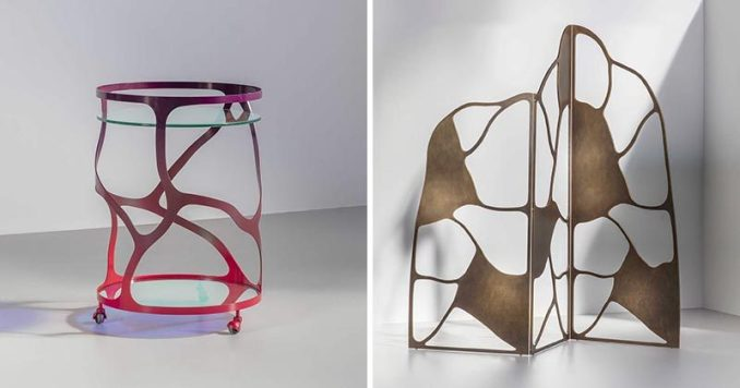 These sculptural furniture designs are made made from water cut steel or aluminum, and has an ombre appearance, with the colors fading seamlessly in and out of each other. #SculpturalFurniture #FurnitureDesign #Design