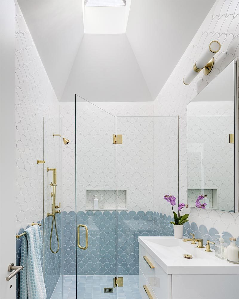 Add This Blue, White, And Gold Bathroom To Your List Of ... on White Bathroom Design Ideas  id=61221