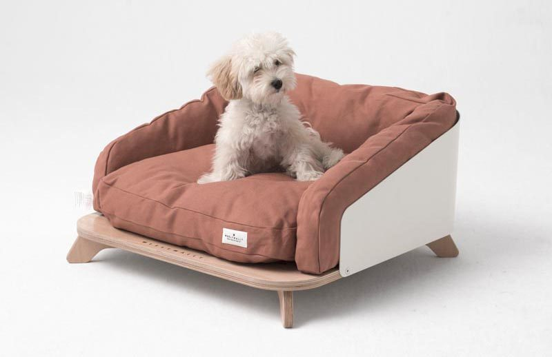 This modern dog or cat bed has a wrap around aluminum support lined by cushions, allowing your furry friend to have a sense of security and plenty of comfort. #PetBed #ModernPetBed #ModernCatBed #ModernDogBed
