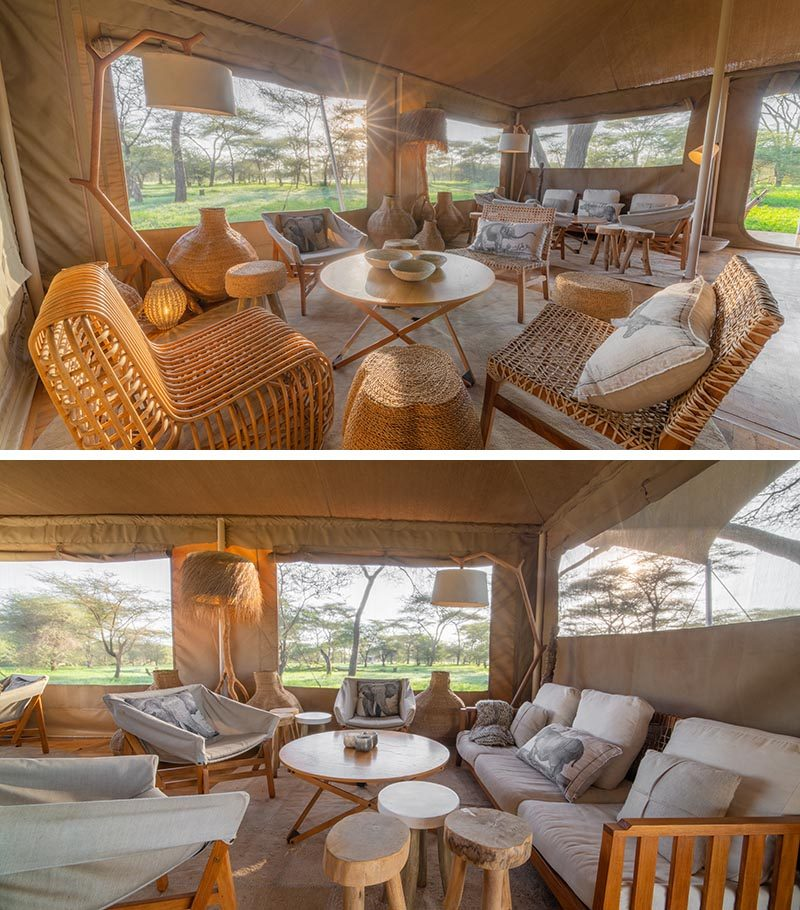 Inside a mess tent at a modern safari camp, the furnishings have been kept to a earthy color palette, with woods and light colored cushions. #Travel #Serengeti