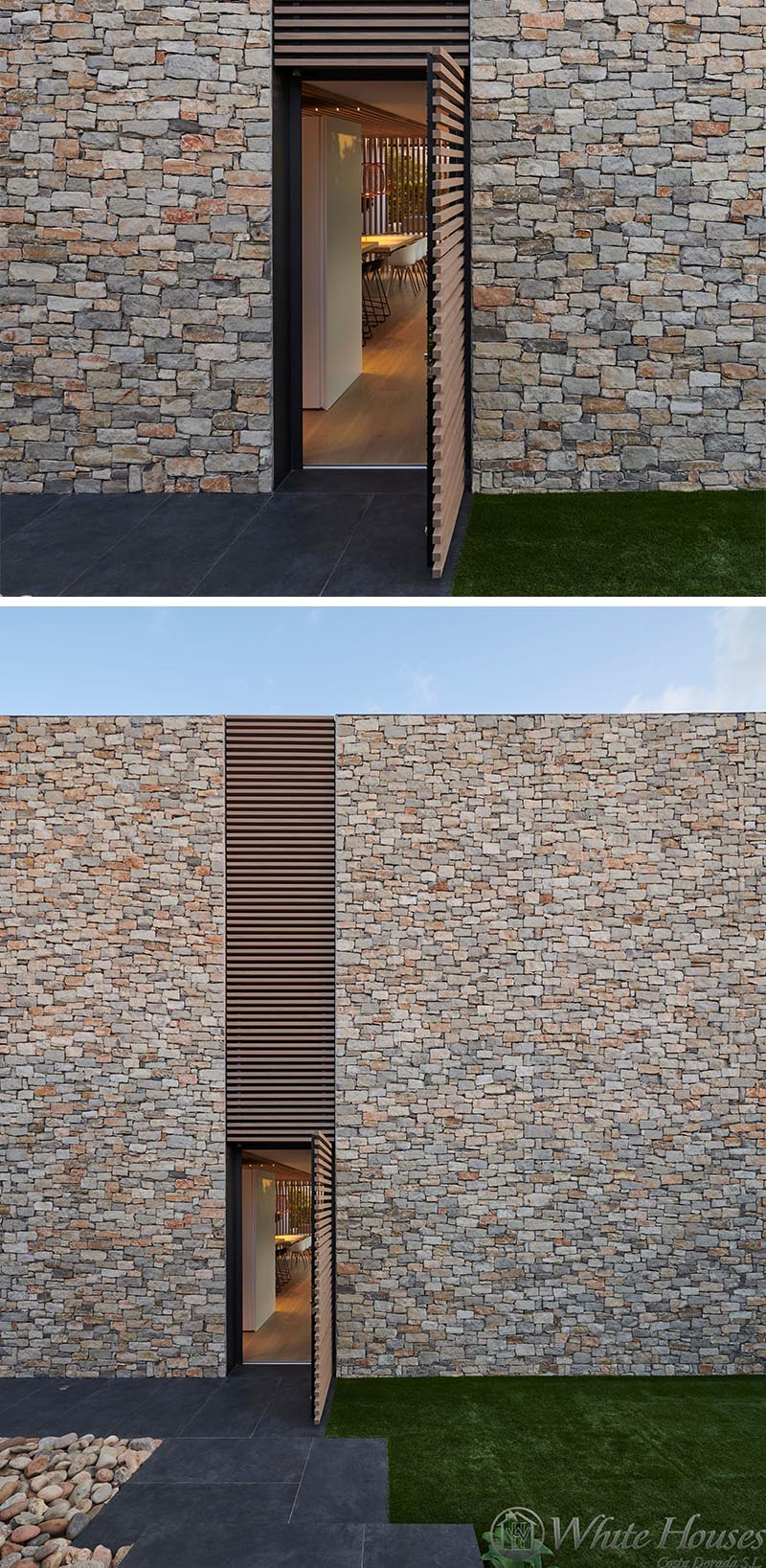 This modern house has a wood slat detail that not only provides visual interest on the facade, but it also hides a door that opens to the interior of the house. #WoodSlat #Facade #ModernHouse #StoneHouse #WoodAccent #Architecture #Doors