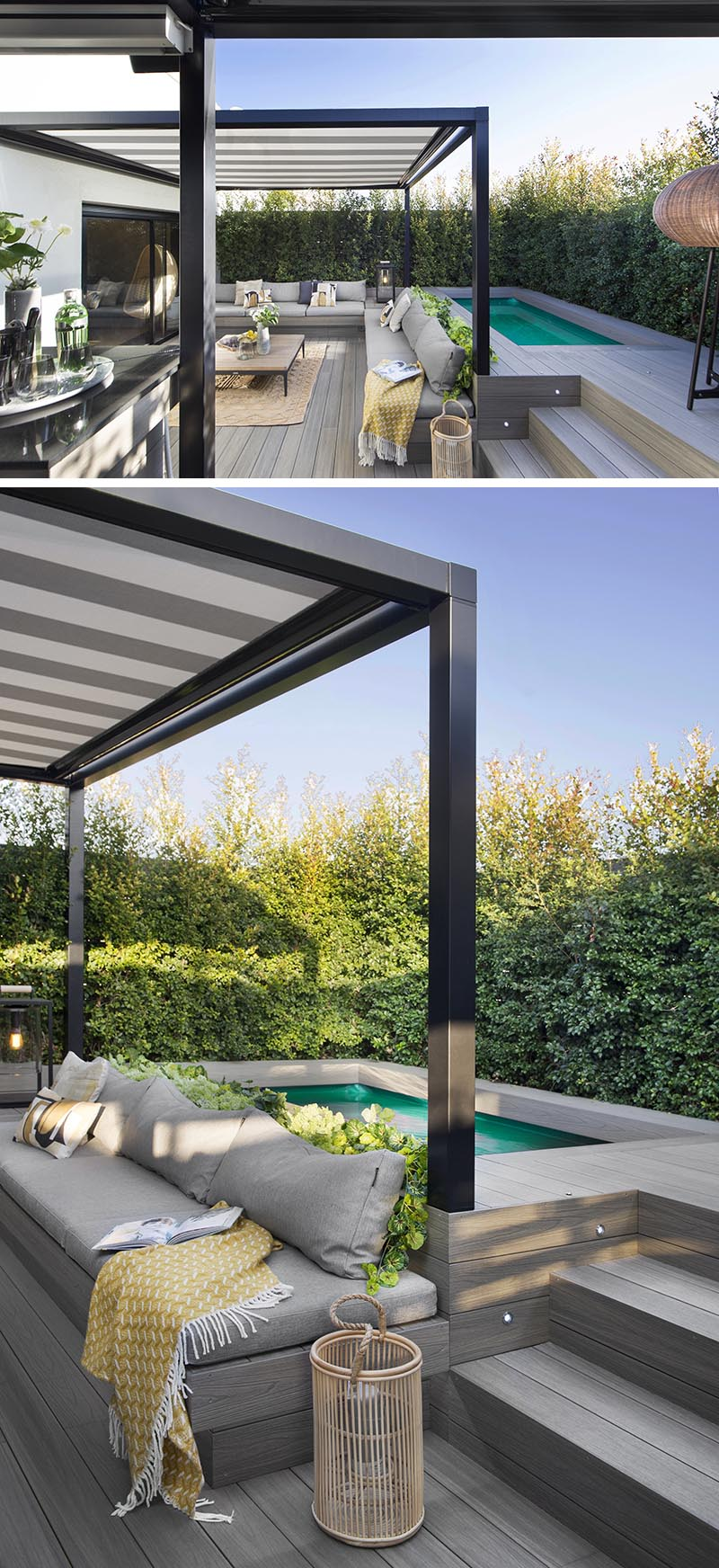Almost hidden from view on this terrace is the small swimming pool, that's located behind the lounge. It's raised up so that when someone is in the pool, they are at the same height as the people sitting on the lounge. #Terrace #SwimmingPool #OutdoorLounge
