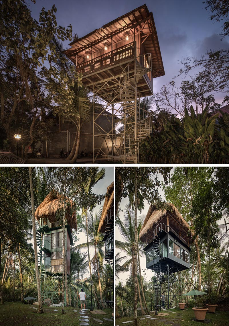 The Lift Treetop Boutique Hotel in Indonesia has three cabins that are raised up off the ground and embedded into the surrounding tropical forest. #Travel #Indonesia #TreetopHotel #LiftTreetopHotel #VacationIdeas