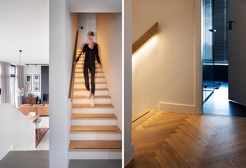 Hidden lighting in the handrail of these modern stairs makes it easy to use them at night. #Handrail #HiddenLighting #Stairs