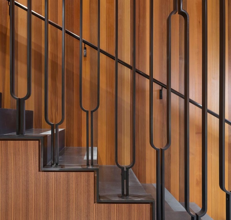 This Black Metal Stair Railing Makes A Strong Statement With Its U   Black Iron Stair Railing   Industrial   Iron Baluster   Rectangular Iron   Horizontal   Contemporary