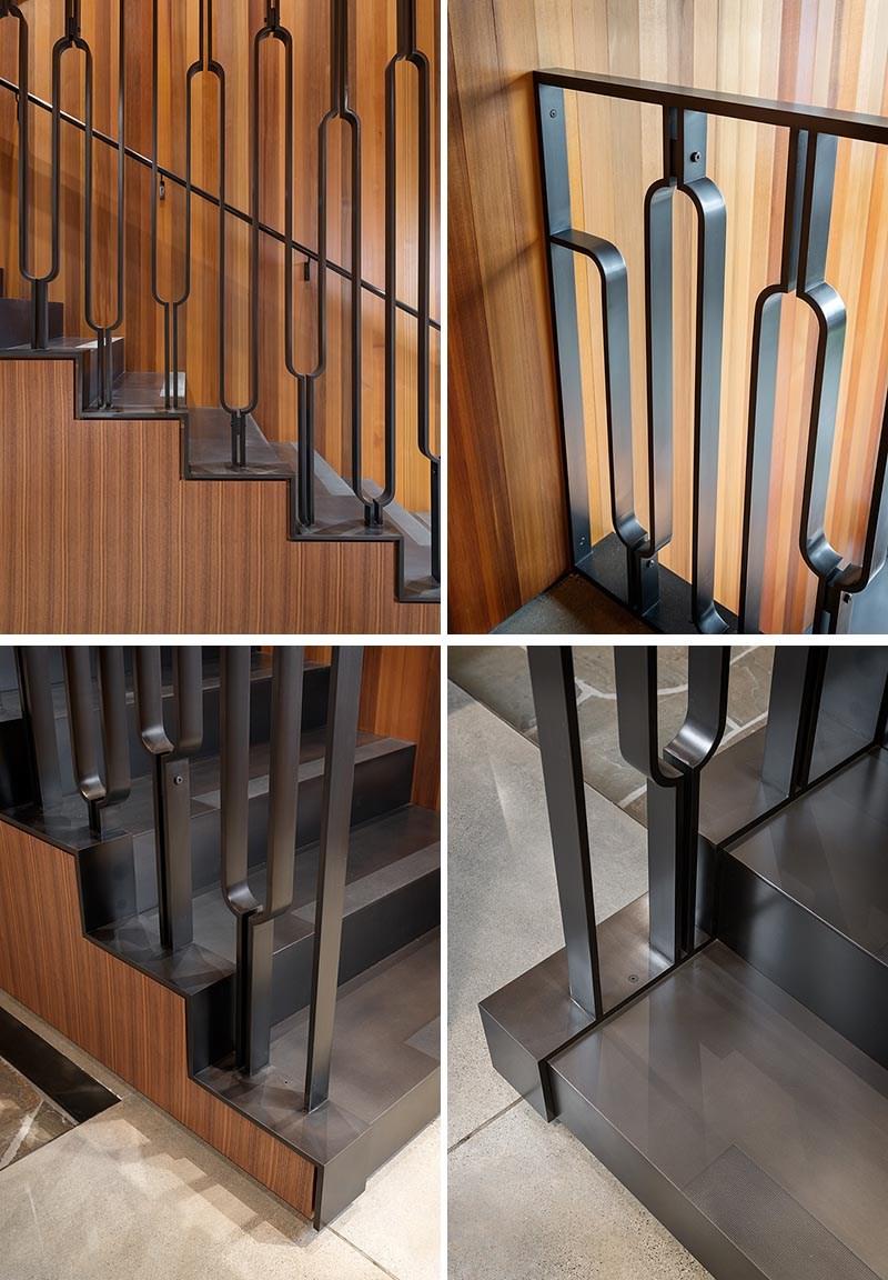 This Black Metal Stair Railing Makes A Strong Statement With Its U | Black Metal Stair Railing | Minimalist Simple Stair | Craftsman Style | Brushed Nickel | Rustic | Horizontal