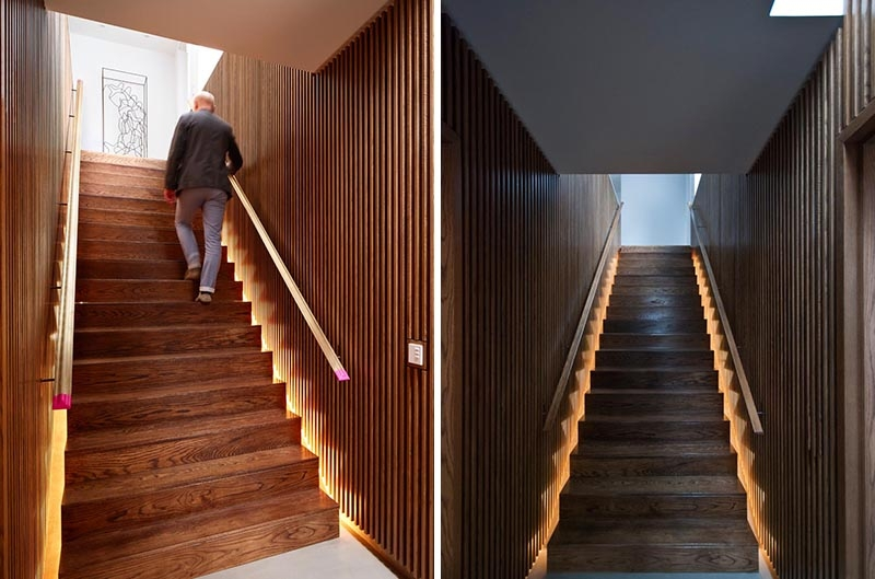 Stairs With Hidden Lighting On Either Side Create A Dramatic | Stairs Side Wall Design | Modern | Stone | Pop | Wallpaper | Stair Pattern