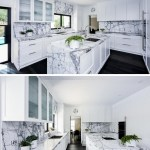 This Kitchen With A Grey Marble Countertop Is Full Of Storage And Organization Ideas