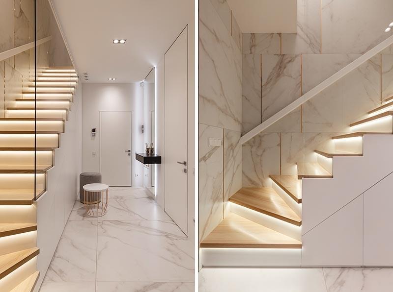 Lighting Under The Stair Treads Creates An Impressively | Modern Stair Treads And Risers | Hardwood | Non Slip | Riser Short Stringer | Cap | Luxury Vinyl Stair