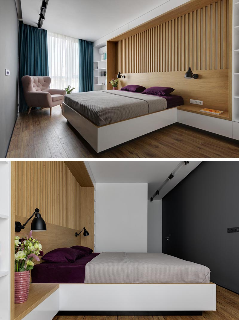 A Wall In This Bedroom Was Fully Built In With Shelving Headboard And Side Tables