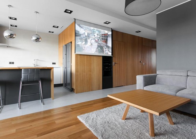 Architecture and interior design firm mode:lina has completed an apartment in Poznan, Poland, and instead of mounting a television in the living room, they included a drop-down projector screen. #DropDownProjectorScreen #ProjectorScreen #InteriorDesign #LivingRoom