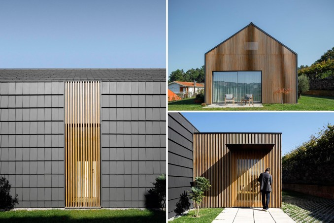 A modern home with a black and wood slat exterior.