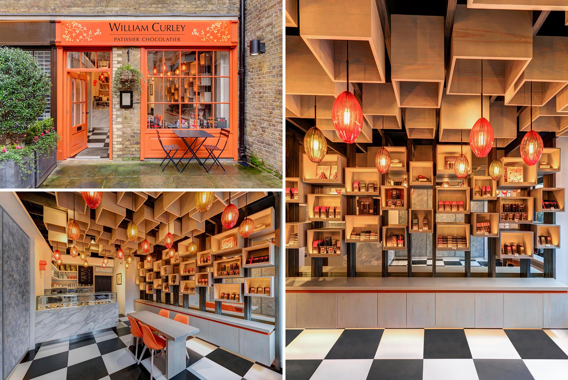 A modern chocolate boutique with a vivid orange facade that draws inspiration from the lid of the boxes the chocolates are packaged in.