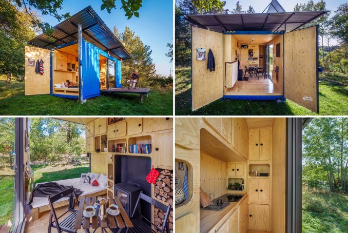 An off-grid tiny home made from a small shipping container.